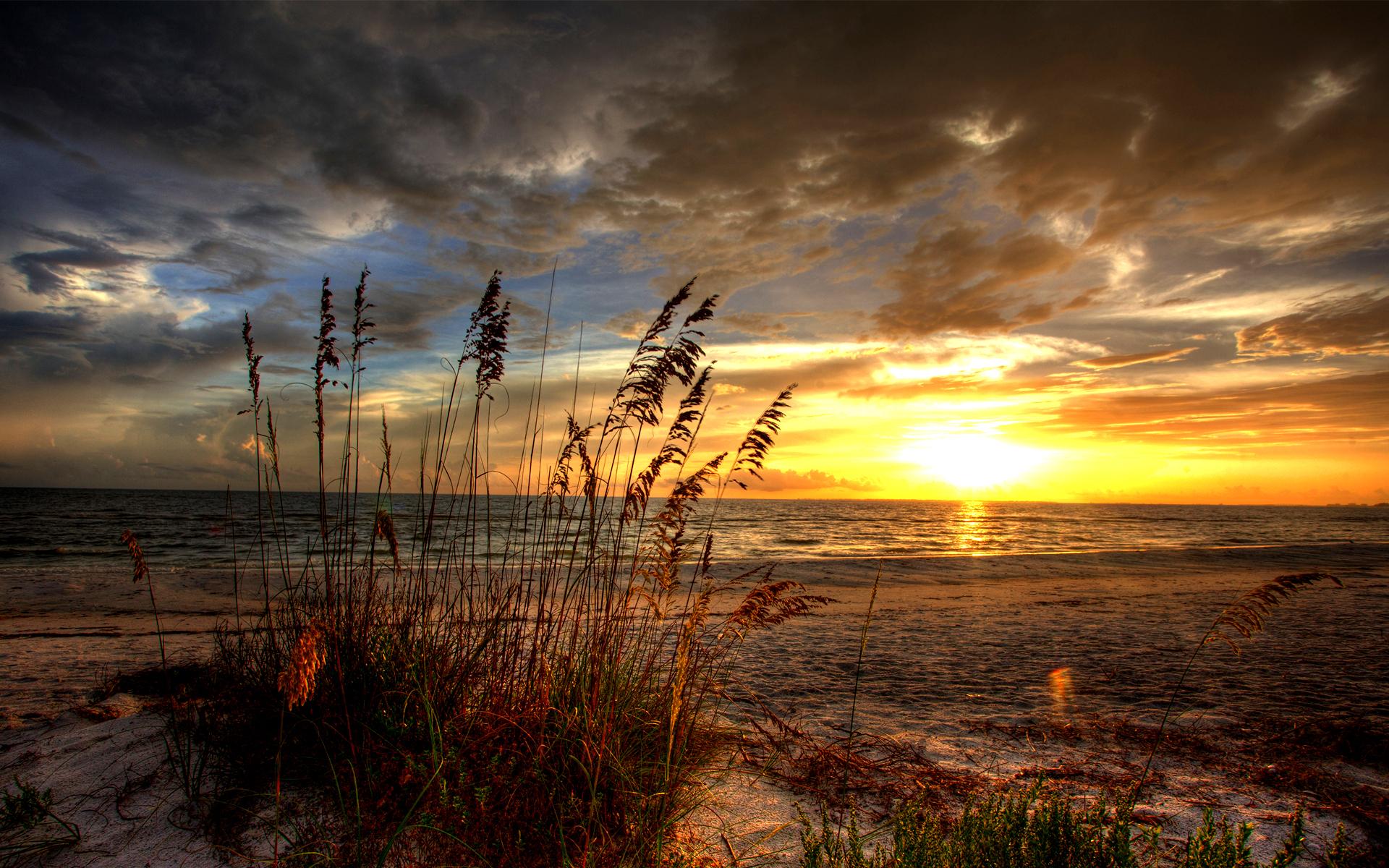 Sunrise Landscape Scenic HDR Ocean Beach Sand Cloud Sun Wallpaper 1920x1200
