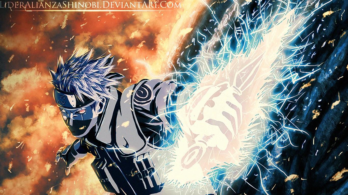 Kakashi Chidori Kunai Sharingan Scar Ninja Anime Wallpaper HD g07 1366x768