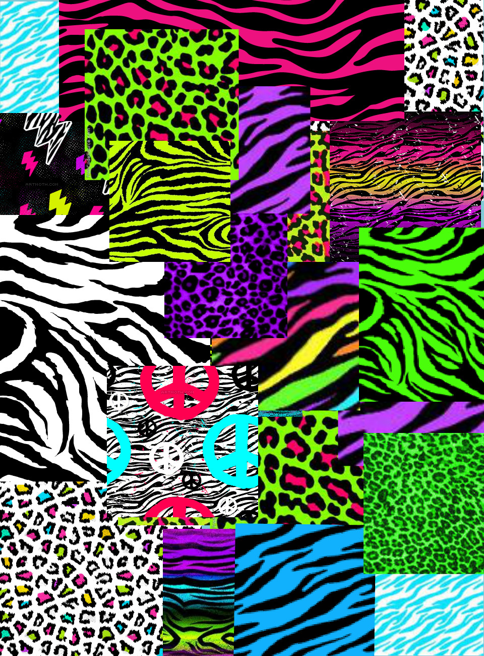 Colorful Neon Zebra Print Wallpaper Colorful neon zebra print 960x1300