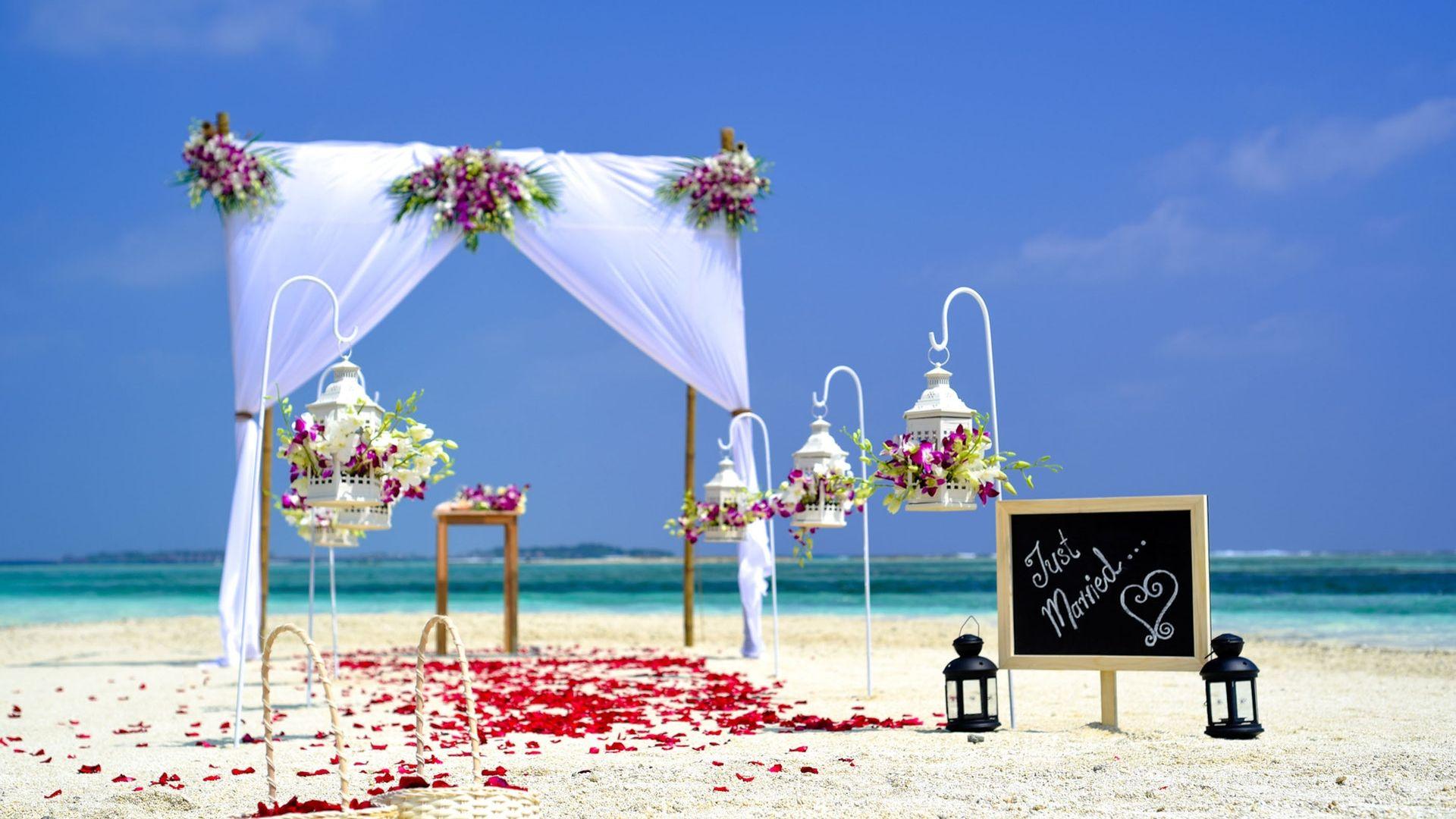 Beach Wedding Setup Wallpaper   Wallpaper Stream 1920x1080