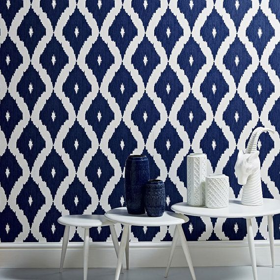 Self adhesive vinyl temporary removable wallpaper wall decal   Ikat 570x570