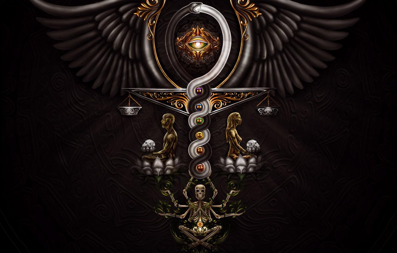 Wallpaper eyes background black wings skeleton Libra scepter 1332x850