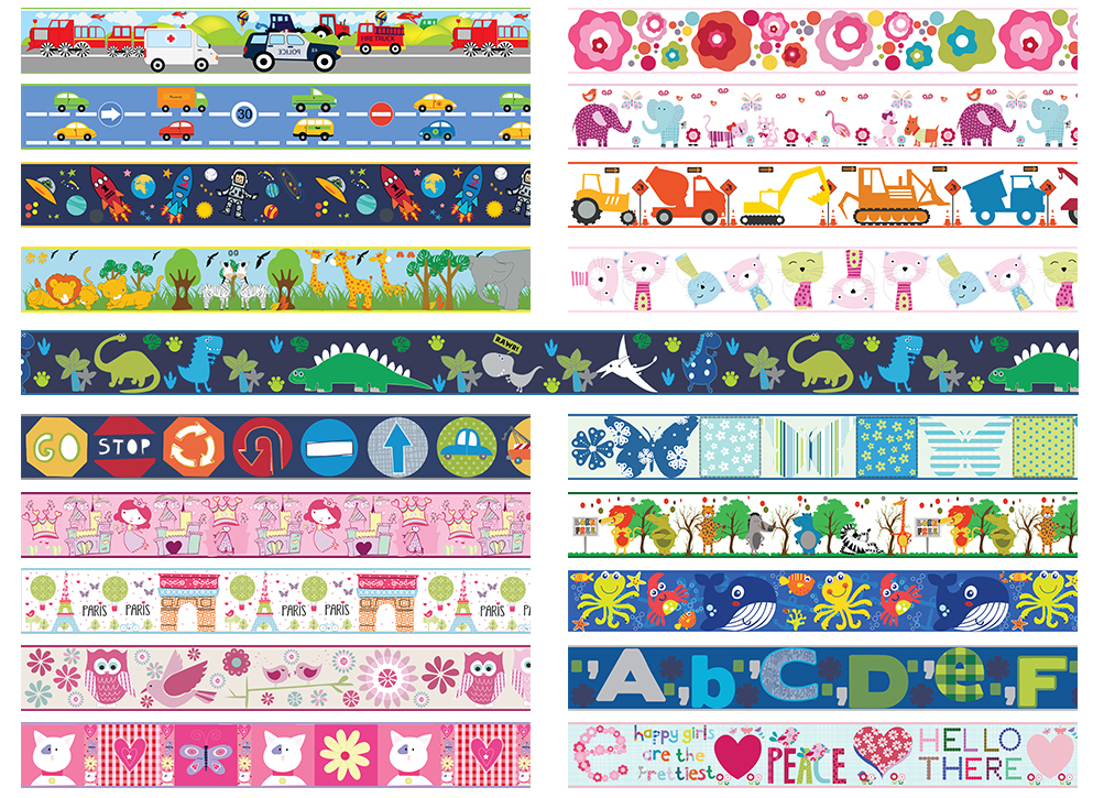 Details about CUTE DINOSAURS personalised bedroom WALL BORDER STRIPS  children\'s dino animals