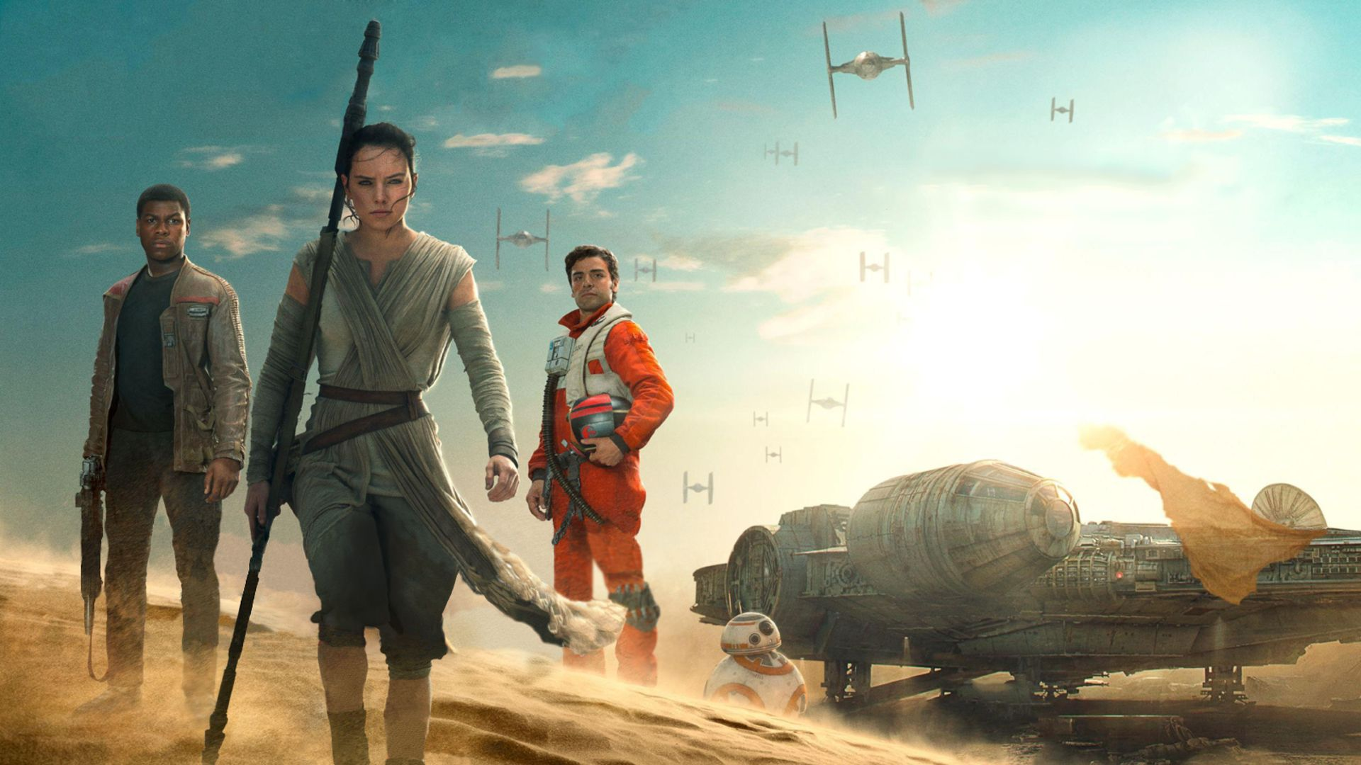 4K HD Rey Finn Poe BB 8 and the Falcon 1920x1080 Wallpapers 1920x1080