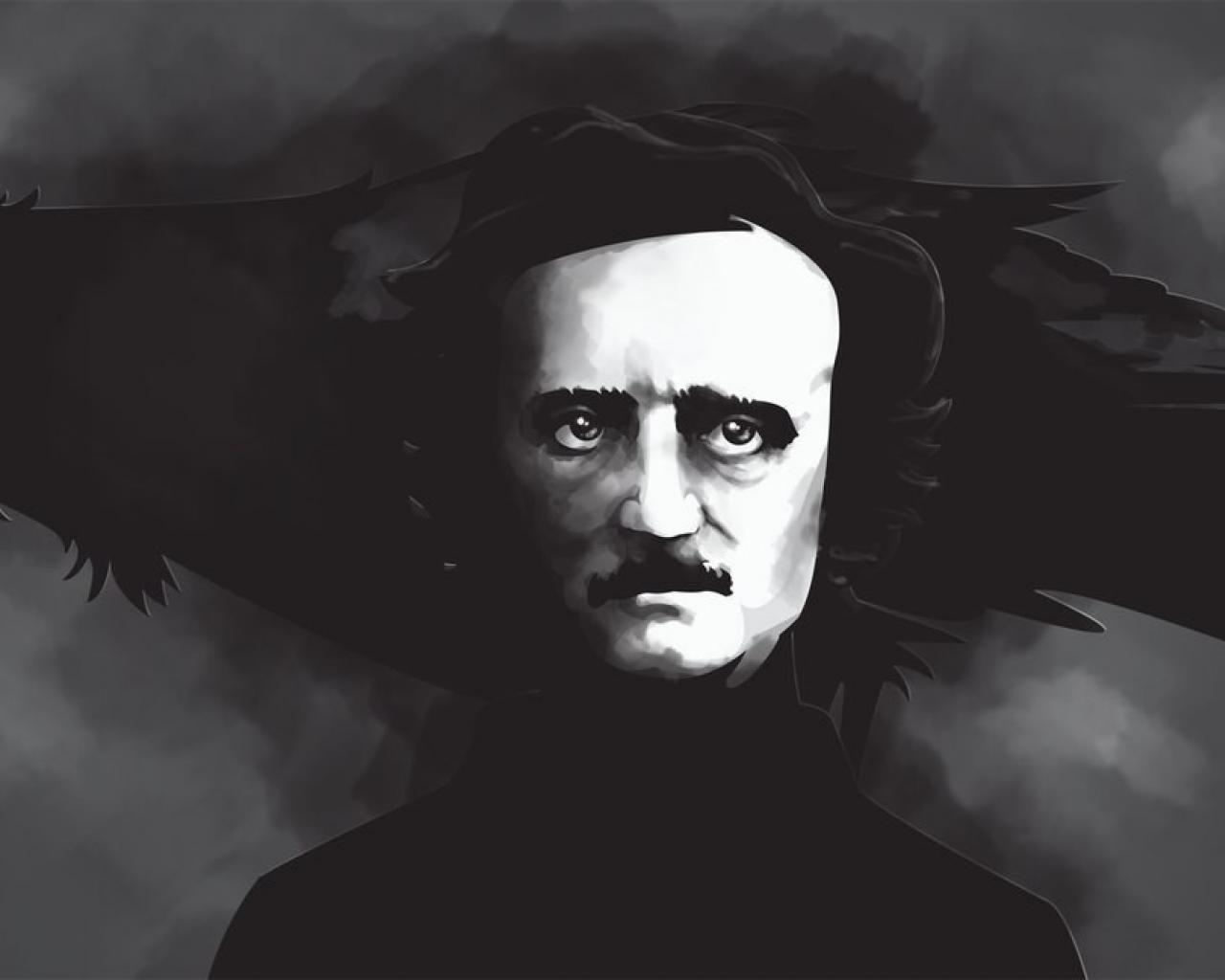 White artwork writers edgar allan poe ravens wallpaper 44044 1280x1024