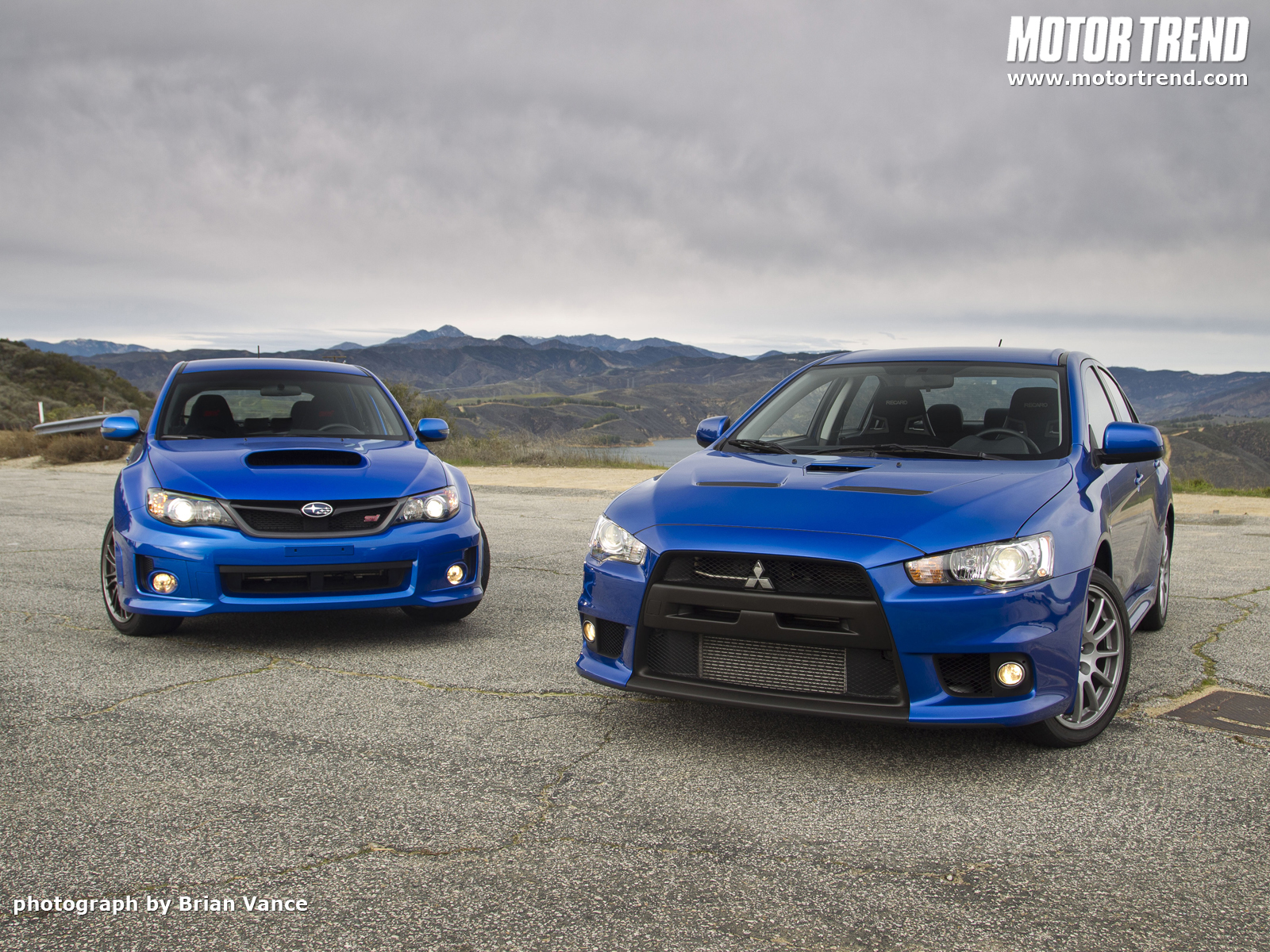 2011 Subaru WRX STI and 2010 Mitsubishi Lancer Evolution X Special 1600x1200