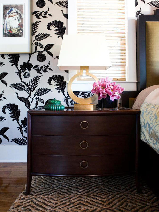 Valencich Wallpapered Bedroom Nightstand 616x821