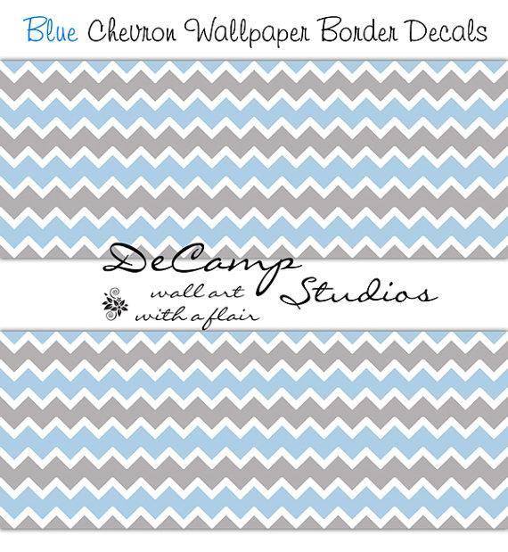 BLUE CHEVRON WALLPAPER Border Wall Art Decal Grey Gray Boy Nursery 570x619