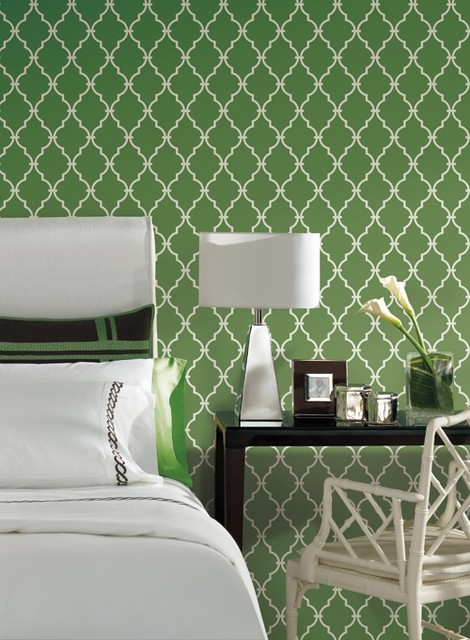Trellis Wallpaper In Green And Ivory By Antonina Vella Seabrook 470x640