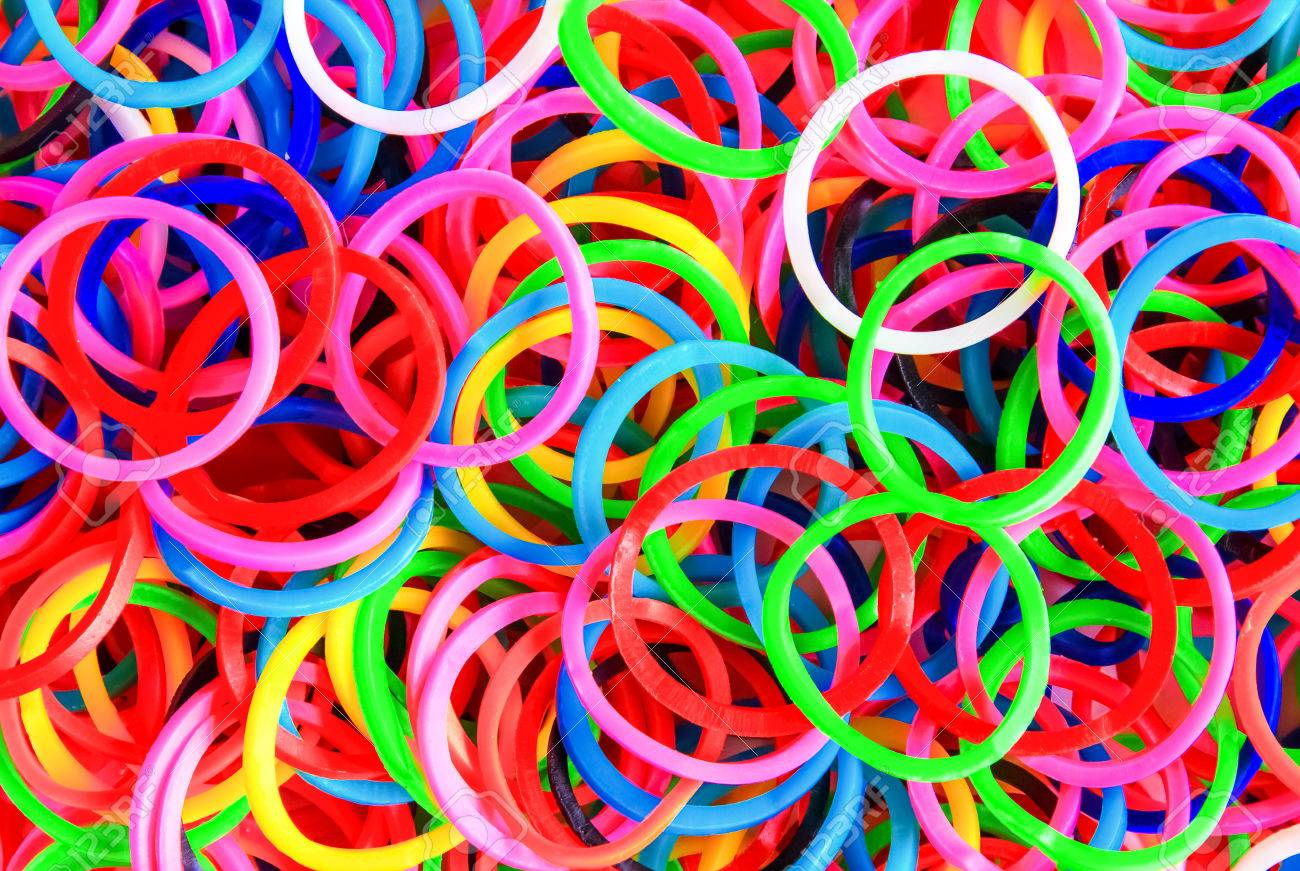 Colorful Background Rainbow Colors Rubber Bands Loom Stock Photo 1300x871
