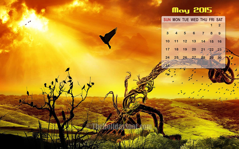 scenic desktop image featuring May 2015 calendar 1440x900