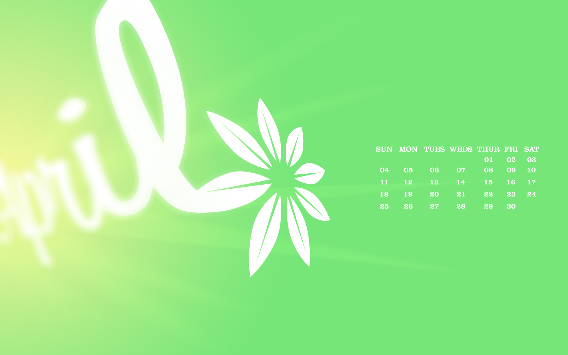 April Desktop Calendar Wallpaper Paper Leaf 1920x1200