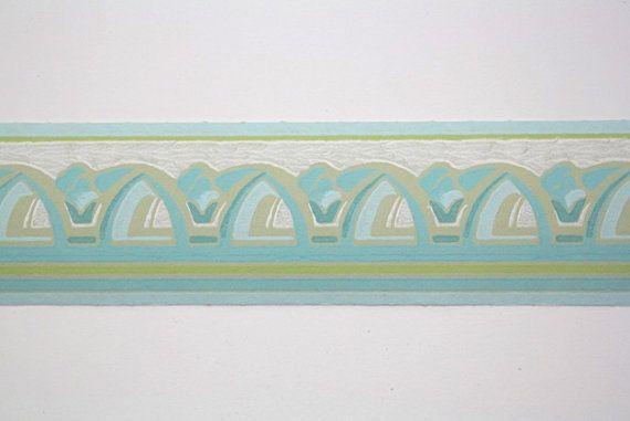 Aqua Blue Blue Green Arches Border Full Vintage Wallpapers Border 570x381