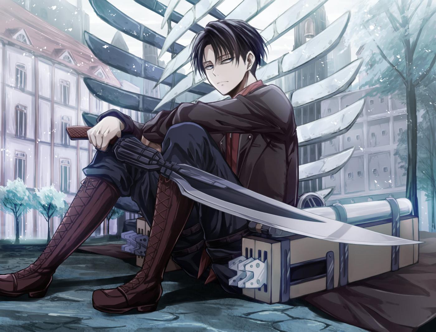 Attack on Titan Shingeki no Kyojin Levi Rivaille Anme Sword Blade HD 1400x1067