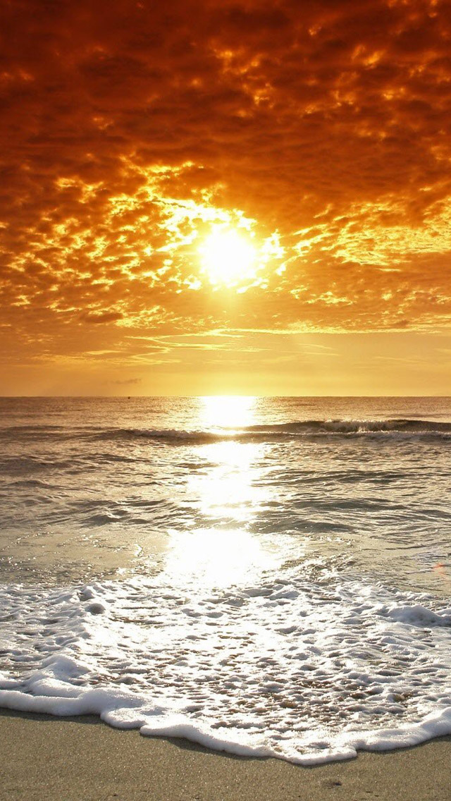 Download Ocean Beach Sunset HD iPhone 5 Wallpapers   Part One 640x1136