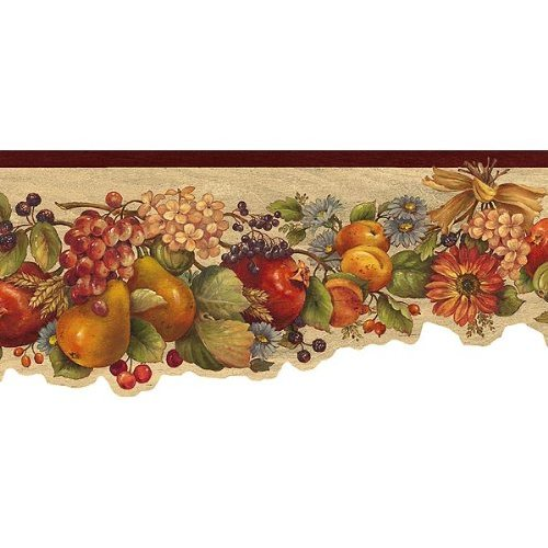 Rust Fruit and Flowers Wallpaper Border Kitchen Dining 500x500