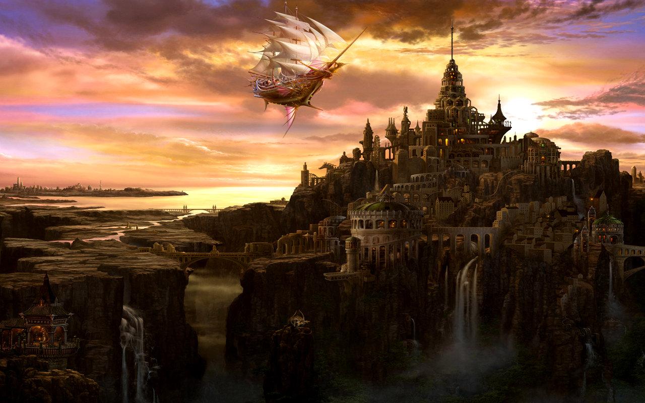 Music City Desktop Wallpapers 1280x800: Fantasy City Wallpaper