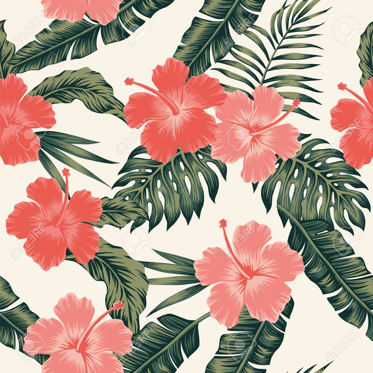 Flowers Hibiscus Abstract Color Tropical Leaves Seamless Vector 1300x1300