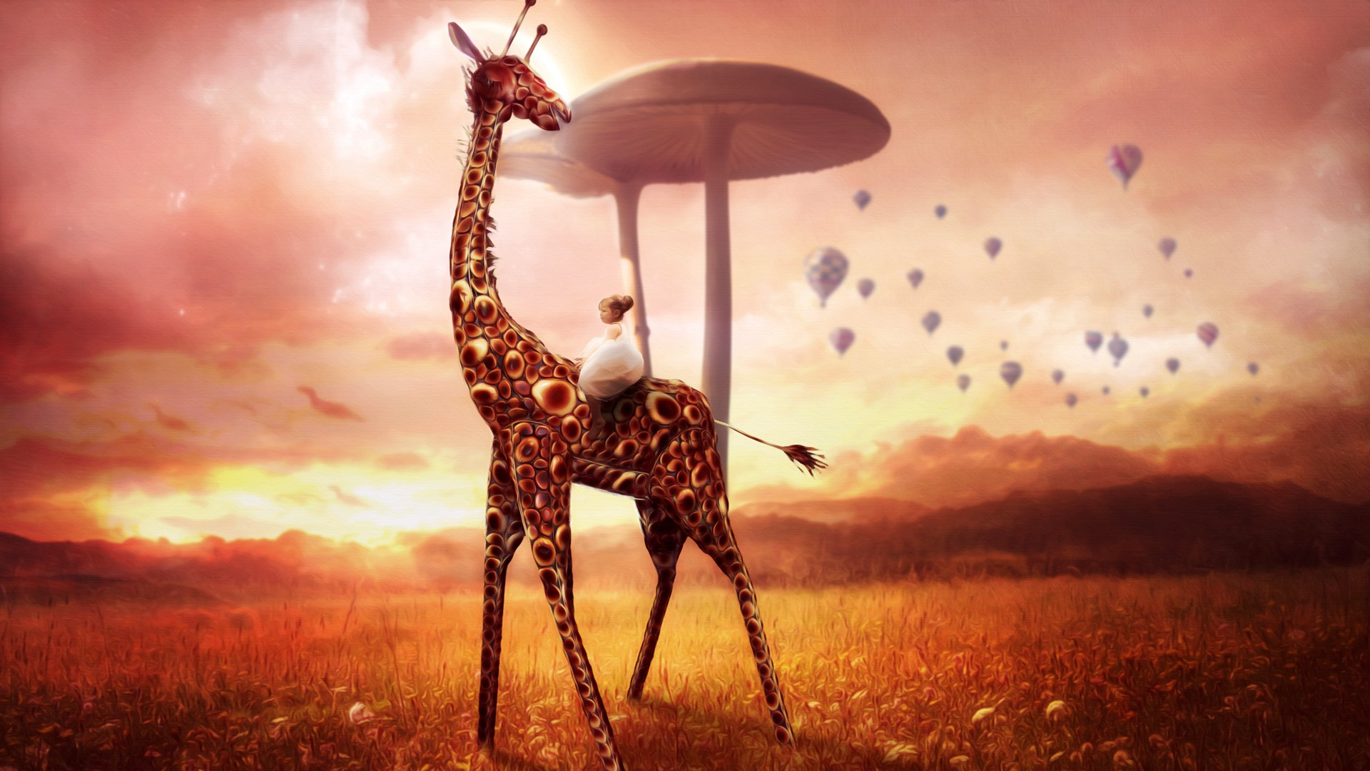 Giraffe Dream Art Creative Wallpaper   New HD Wallpapers 1920x1080