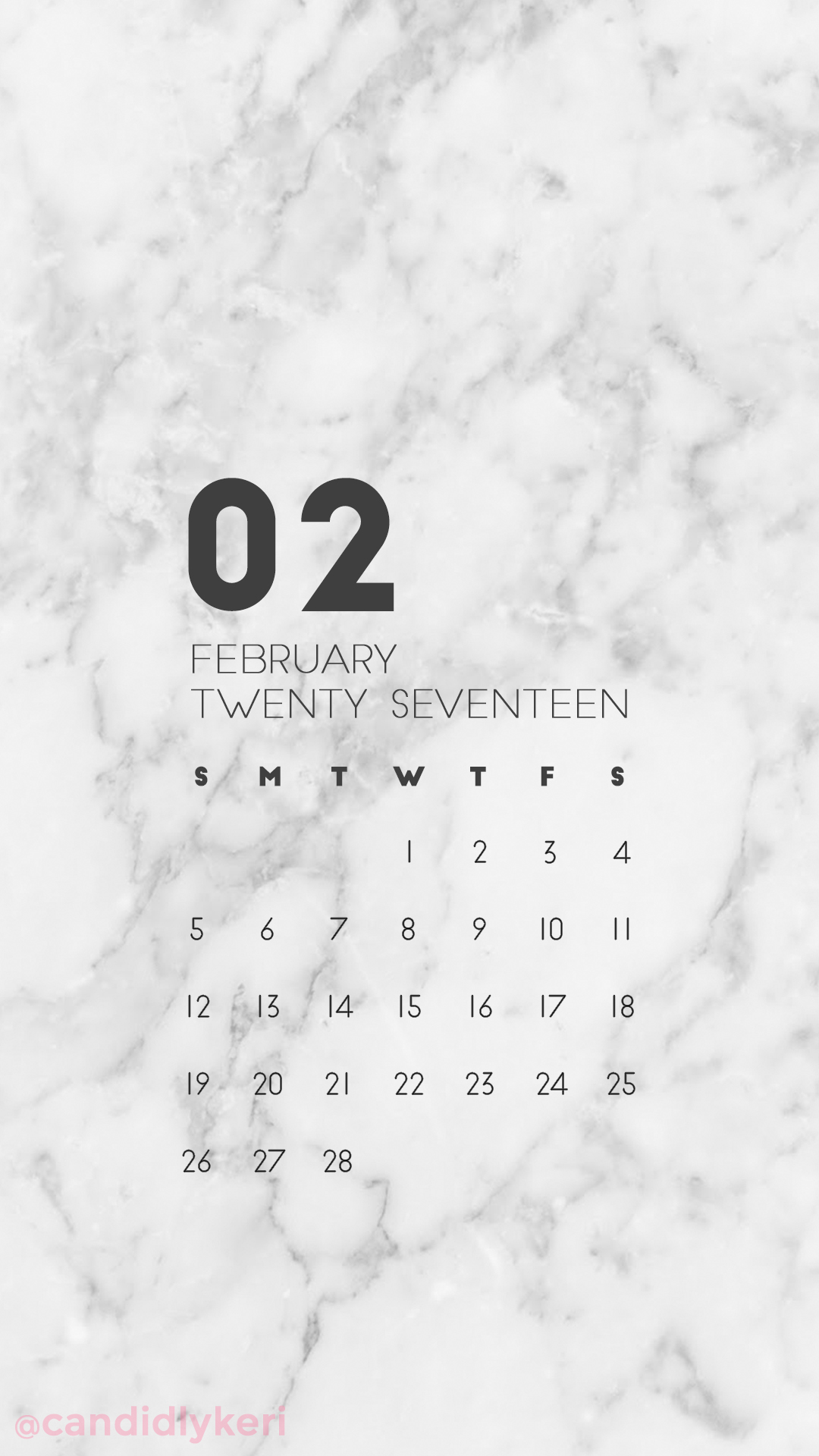 Marble organized clean February calendar 2017 wallpaper 1080x1920