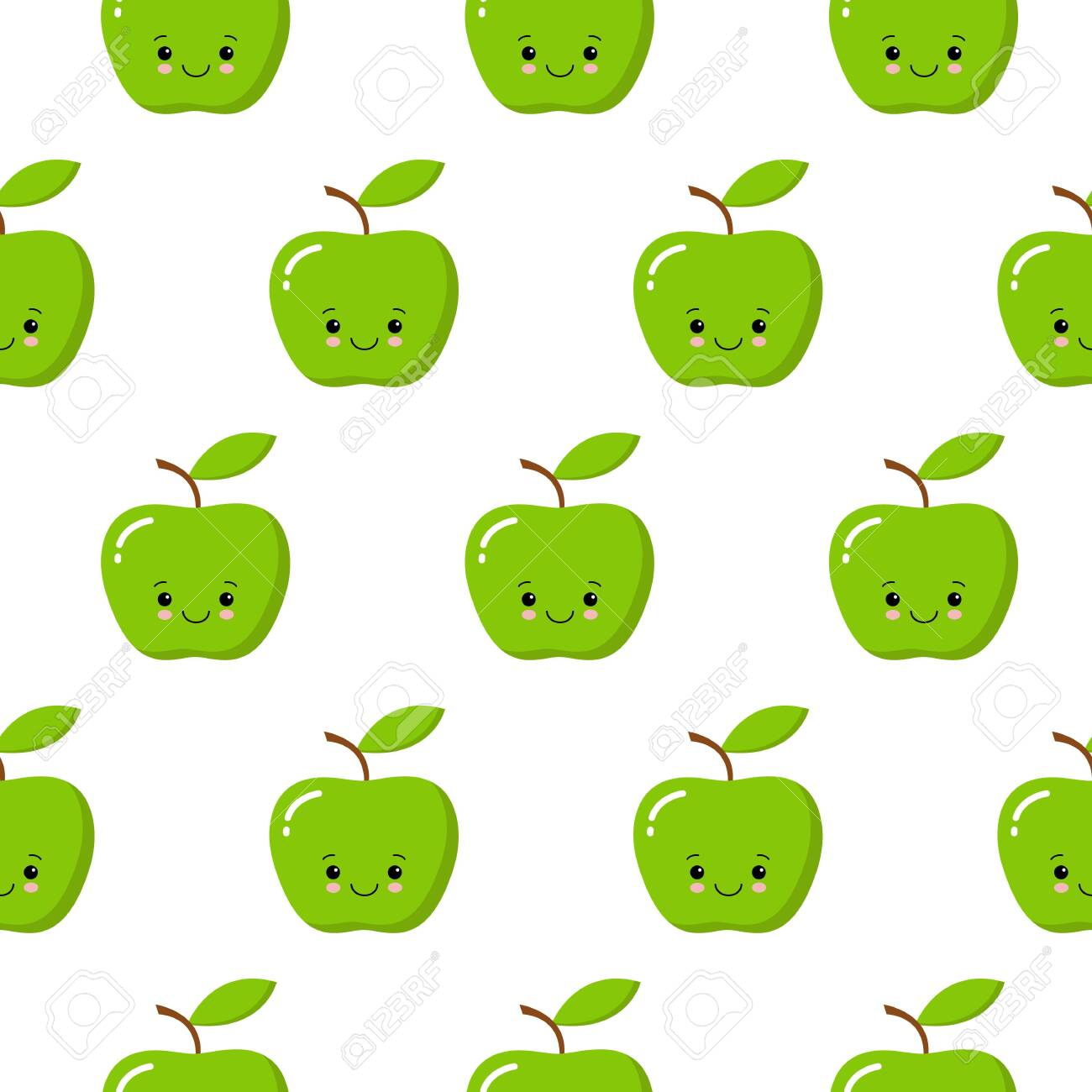 Vector Seamless Pattern Illustration With Cute Kawaii Apples On 1300x1300