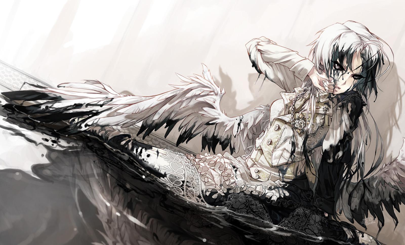 Angel wings black monochrome wings Female Girl anime hd wallpaper 1600x969