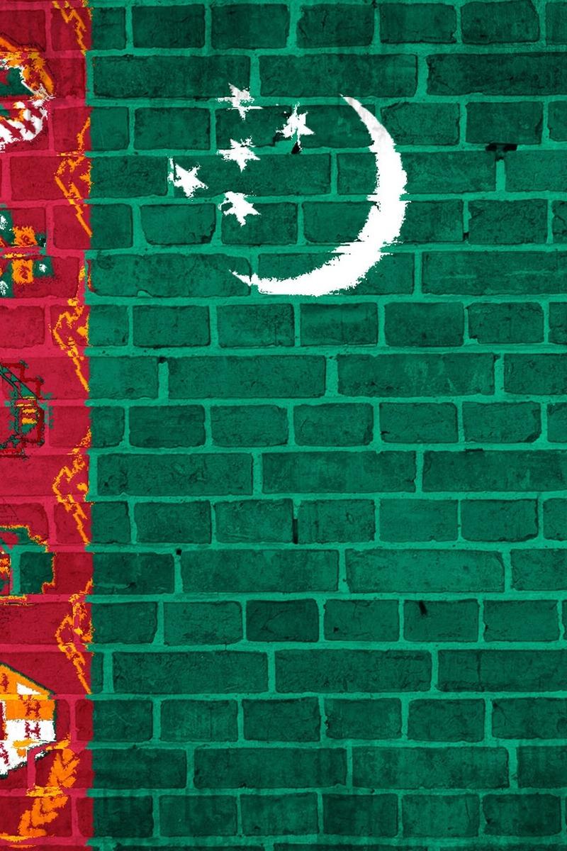 Download wallpaper 800x1200 turkmenistan flag wall stones iphone 800x1200