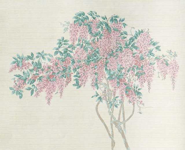 Thibaut Vintage Murals Wisteria Pink Wallpaper traditional wallpaper 640x520