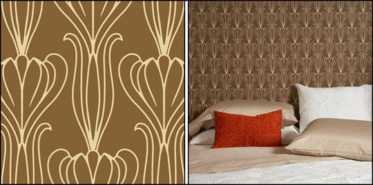Overlapping Leaves temporary wallpaper from Pottery Barn 540x268