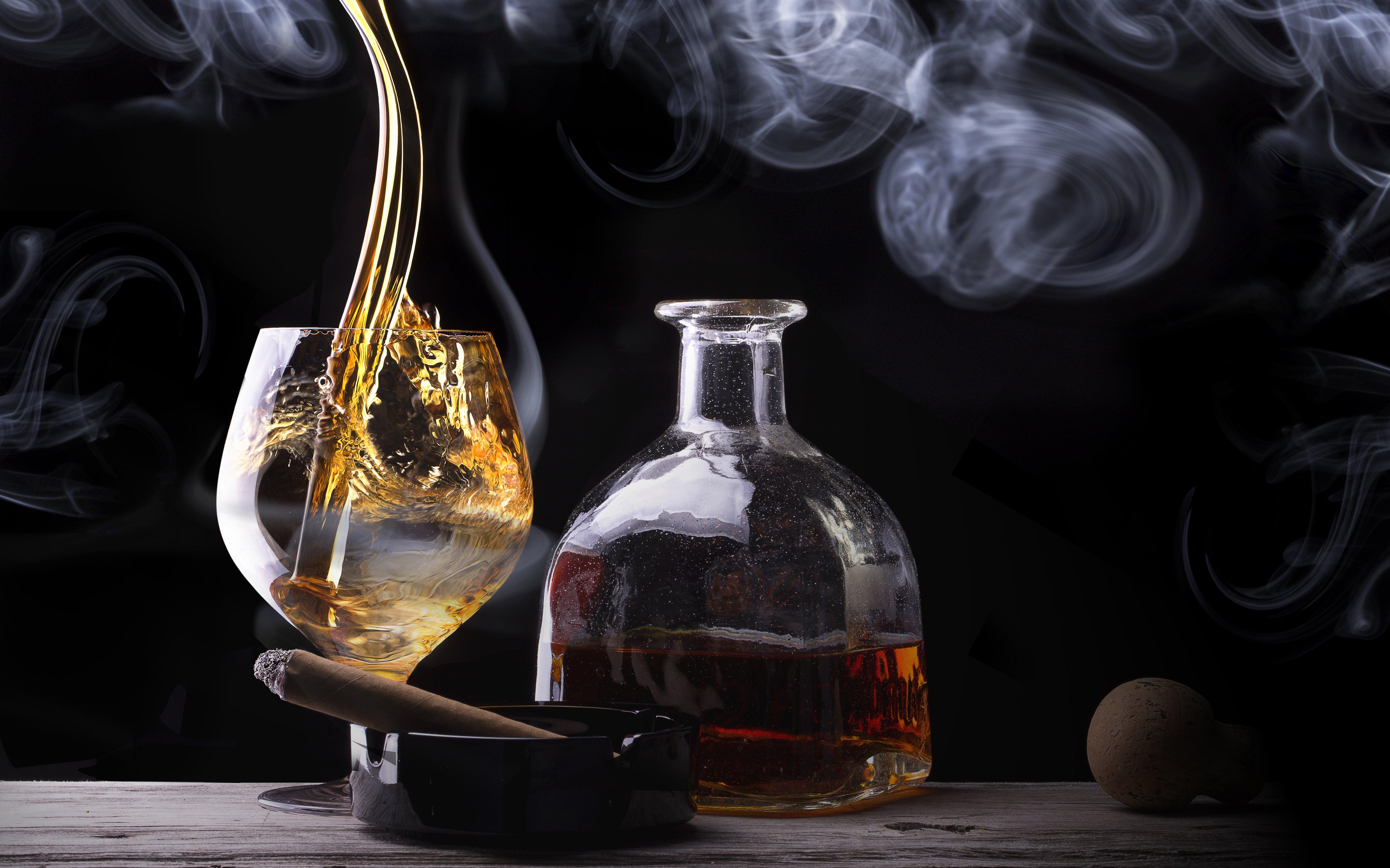 cigar whiskey glass bottle smoke alcohol f wallpaper background 5312x3320