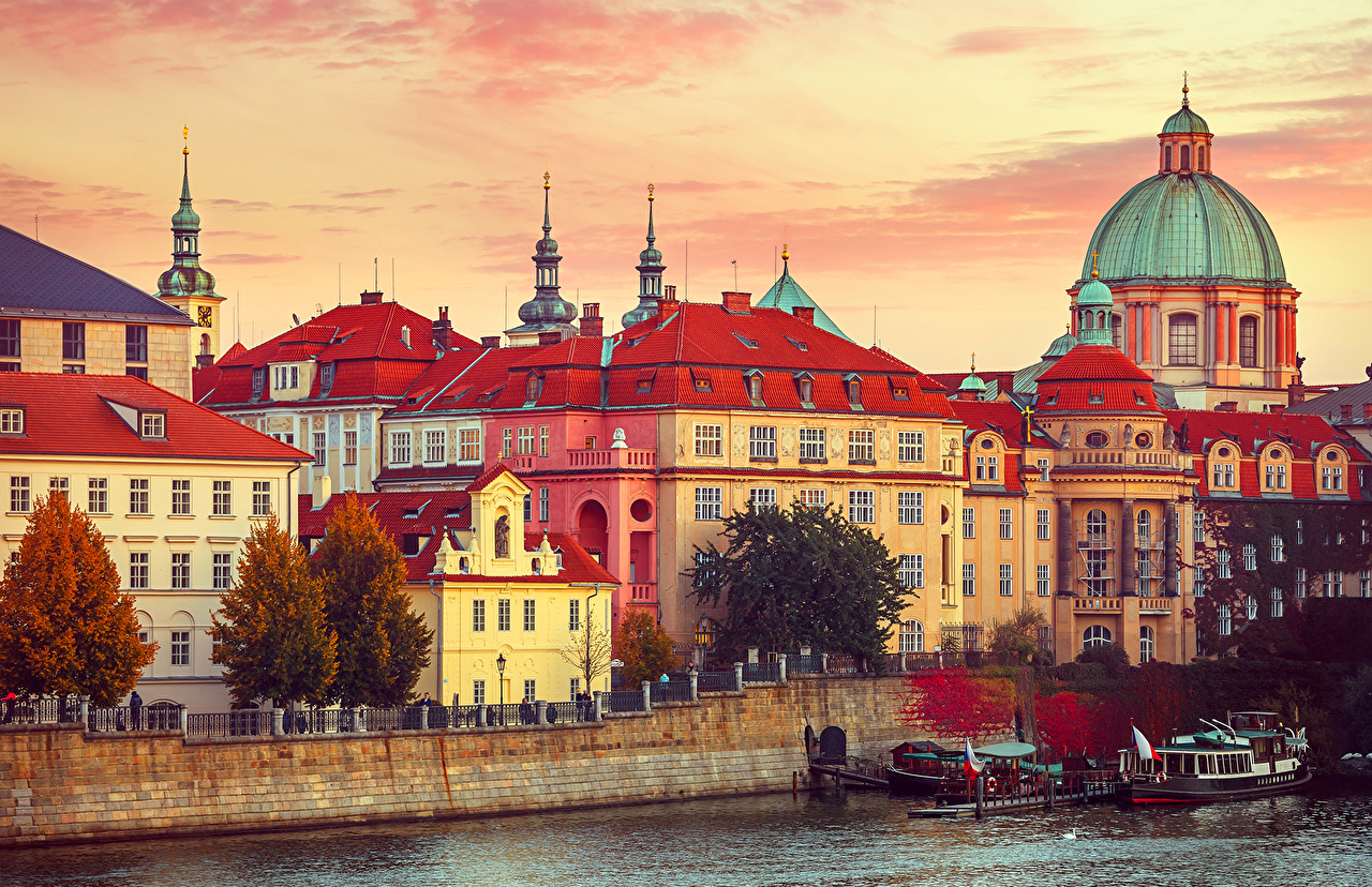 Wallpapers Prague Czech Republic Pier Rivers Motorboat Cities Houses 1280x828