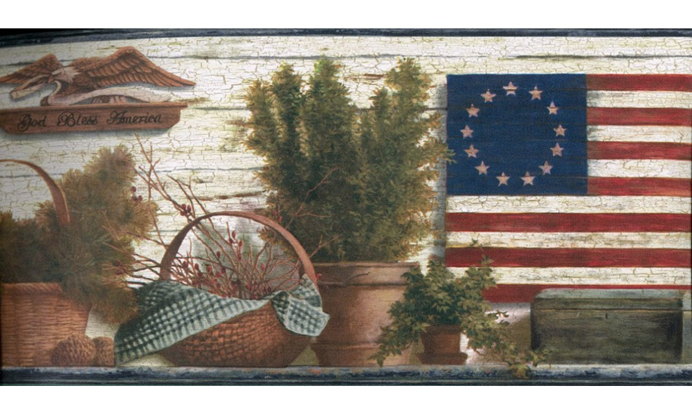 Home Blue Red and Green Lodge Flag Wallpaper Border 1000x600