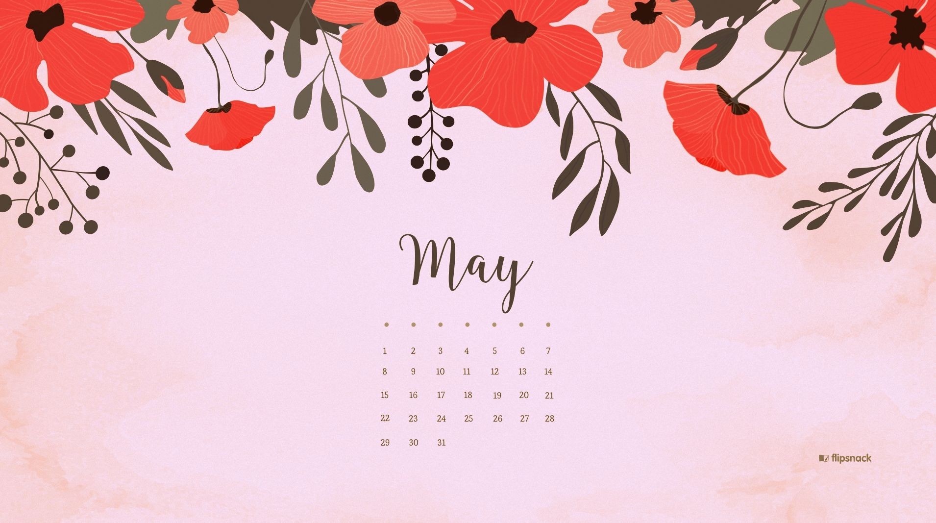 May 2018 Calendar Desktop Wallpaper 2018 Calendars Calendar 1910x1067