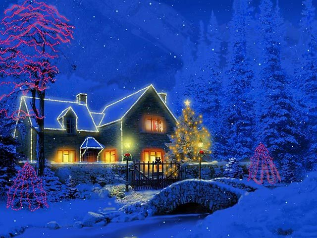 3D Christmas Cottage Animated Wallpaper Software Informer Screenshots 640x480
