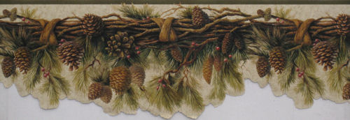 Pine Cone Garland Wallpaper Border FG35652B Lodge Cabin 500x172