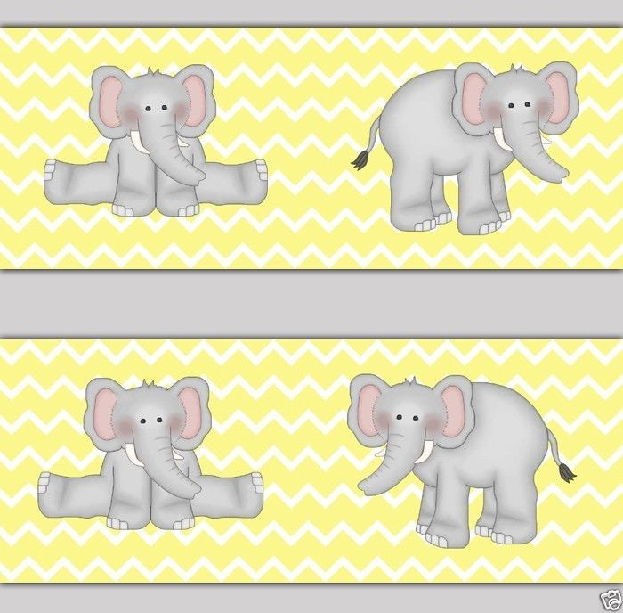 Yellow and Grey Elephant Chevron Wallpaper Border Wall Decals for baby 700x688