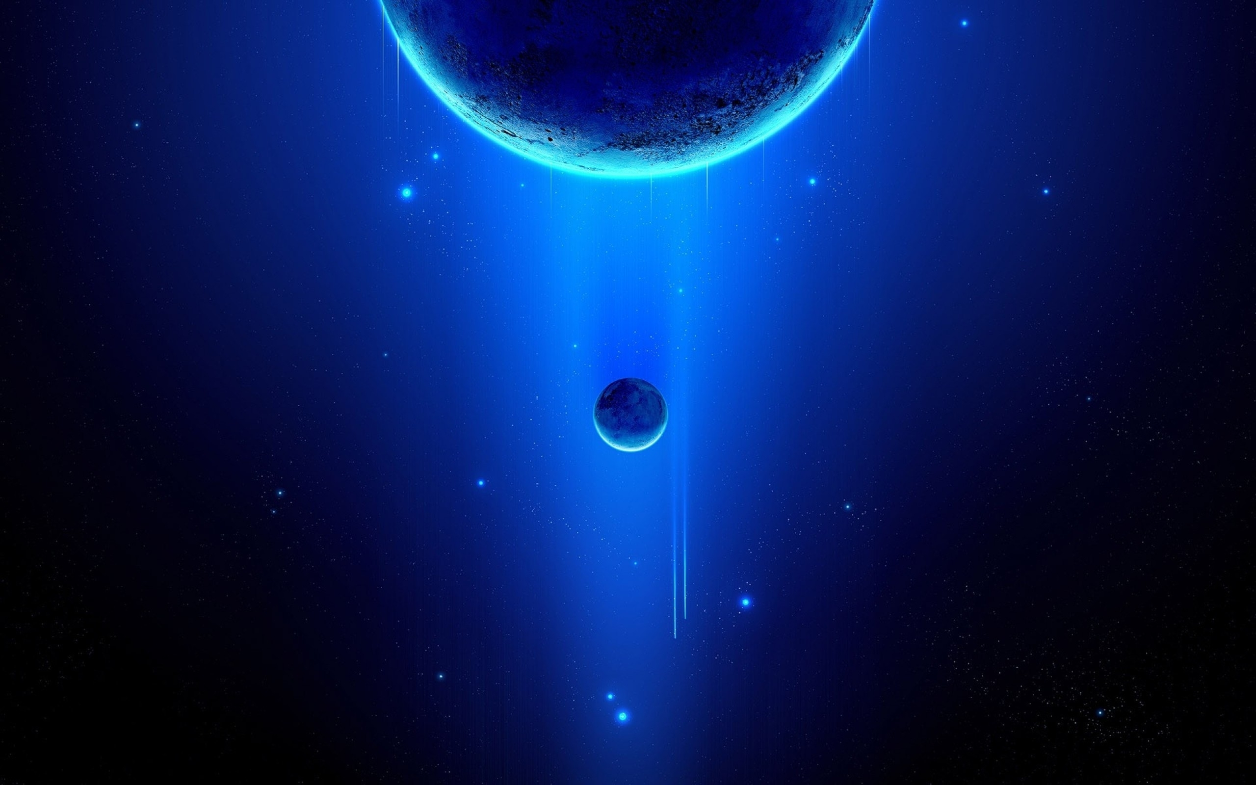 Light blue outer space planets HD Wallpapers 2560x1600