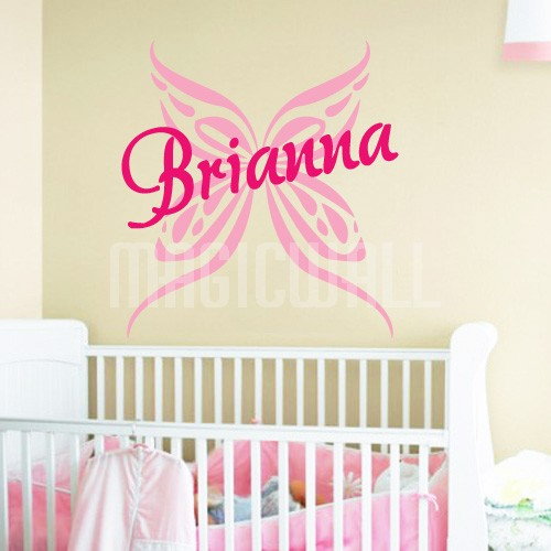 Home Butterfly Personalized Name Monogram Wall Decals Stickers 500x500
