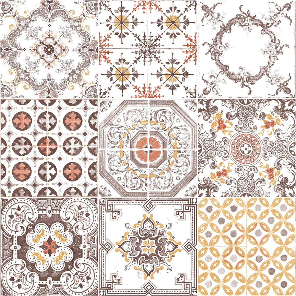 Free Download Tile Pattern Retro Floral Motif Kitchen