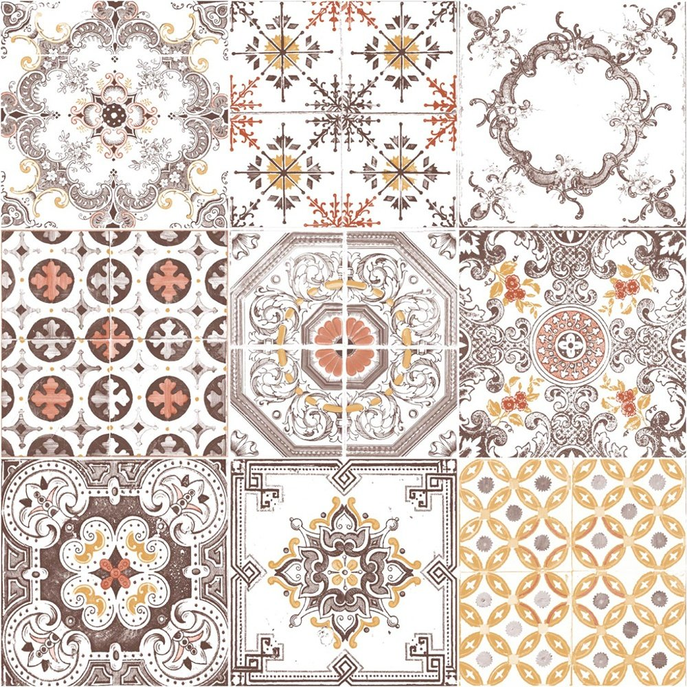 Free Download Tile Pattern Retro Floral Motif Kitchen Bathroom