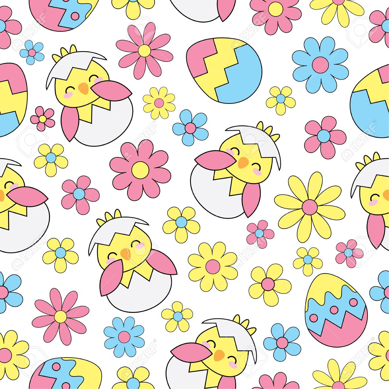 Easter Seamless Background With Cute Chick Eggs And Flowers 1300x1300