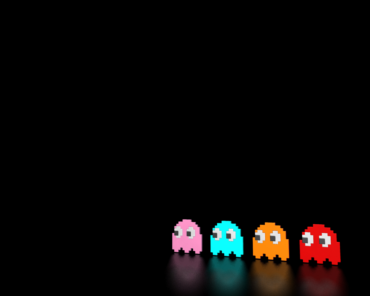 pacman ghost wallpaper background pink blue orange red classic arcade 1280x1024