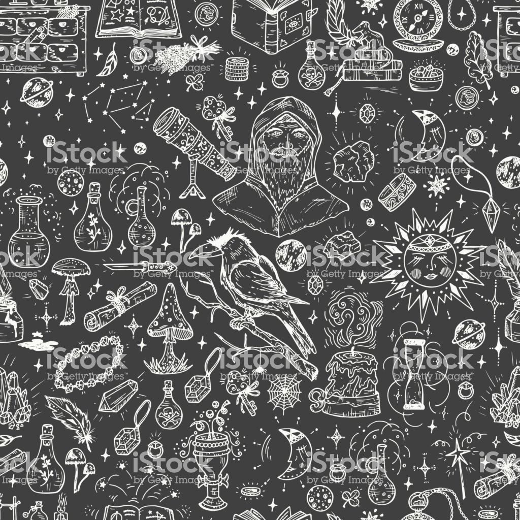 Alchemy Seamless Pattern Endless Background With Hand Drawn Doodle 1024x1024