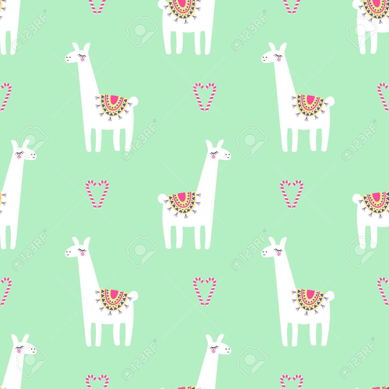 Cute Llama With Candy Cane Heart Seamless Pattern On Mint Green 1300x1300