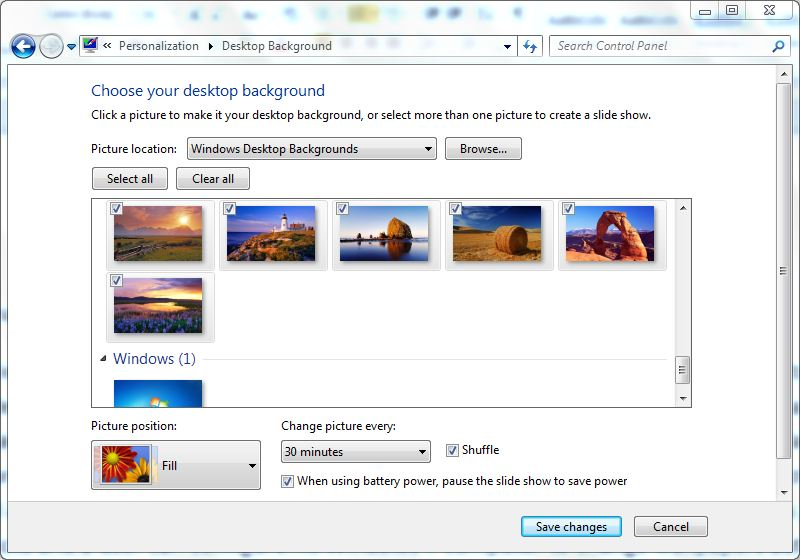 Automatically Change Desktop Wallpapers in Windows 7 800x560