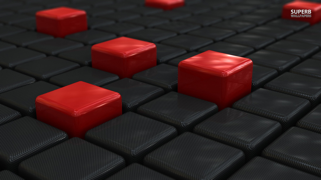 Red 3D wallpaper 1366x768