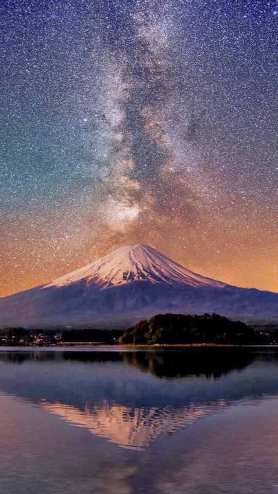 Mount Fuji Milky Way Wallpaper   iPhone Wallpapers 540x960