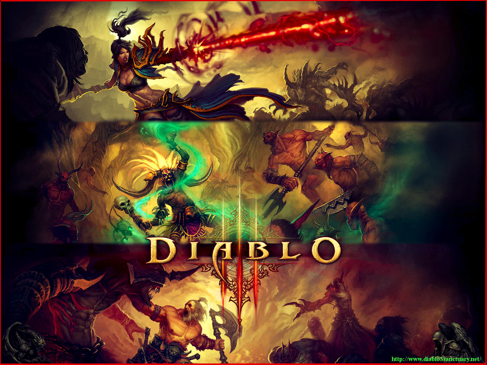 Diablo 3 Wallpapers All 3 Caracters Wizard Witch Doctor Barbarian 1600x1200