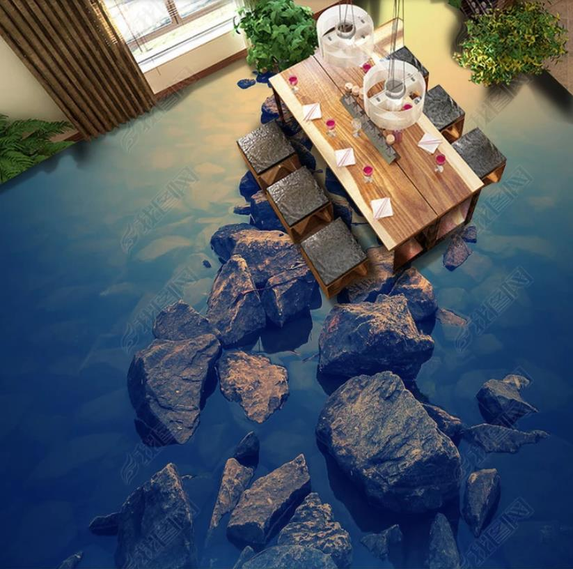 3d flooring Stone ocean mural wallpaper Living room bedroom 823x816
