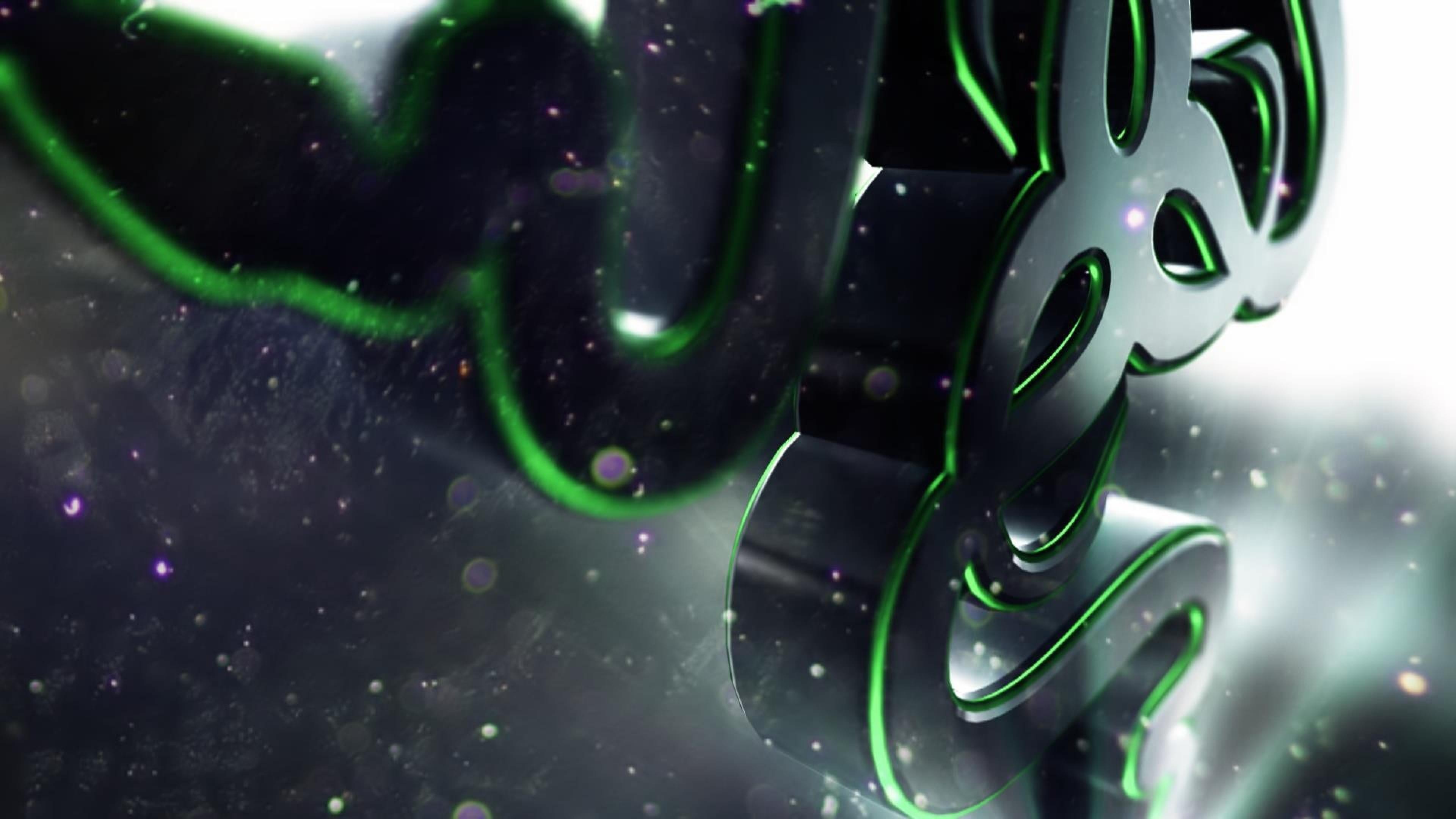 HD Background Razer 3D Logo Green Symbol Wallpaper Wallpapers Byte 3840x2160